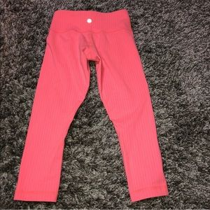 Lululemon Wunder Under Crop Pant Coral Striped 2